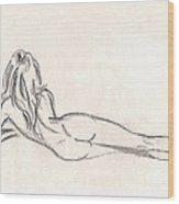 Nude Figure Drawing Wood Print