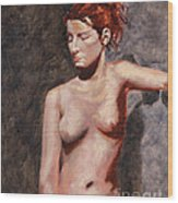 Nude French Woman Wood Print by Shelley Irish