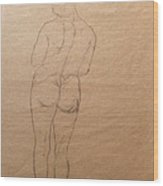 Nude From Back Wood Print