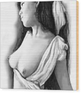 Nude Girl Drawing Art Sketch - 10 Wood Print