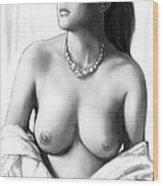Nude Girl Drawing Art Sketch - 12 Wood Print
