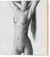 Nude Girl Drawing Art Sketch - 6 Wood Print