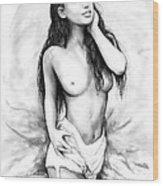Nude Girl Drawing Art Sketch - 8 Wood Print