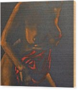 Nude In Darkness Wood Print