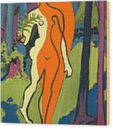 Nude In Orange And Yellow Wood Print