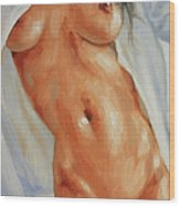 Nude In Shirt II Wood Print