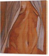 Nude In Shirt IIi Wood Print