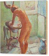 Nude In The Bathroom Wood Print