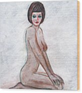 Nude In The White Room Wood Print