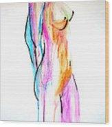 Nude In Watercolor Wood Print