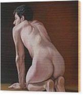Nude Male Kneeling Wood Print