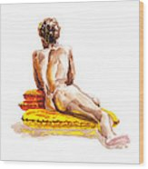 Nude Male Model Study Vi Wood Print