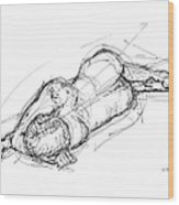 Nude Male Sketches 4 Wood Print