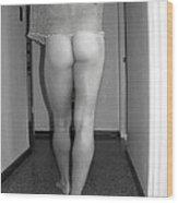 Nude Male Walking Wood Print