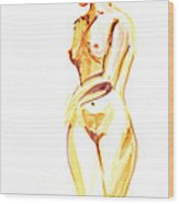 Nude Model Gesture II Wood Print