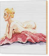 Nude Model Gesture Xiv Resting On Red Wood Print