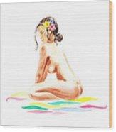 Nude Model Gesture Xvi Tropical Flower Wood Print