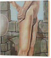 Nude On A Rampart Wood Print