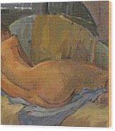 Nude On Chaise Longue Wood Print