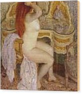 Nude Seated At Her Dressing Table Wood Print