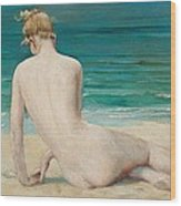 Nude Seated On The Shore Wood Print