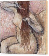 Nude Seated Woman Arranging Her Hair Femme Nu Assise Se Coiffant Wood Print