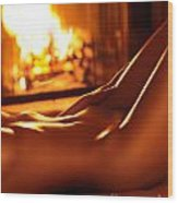 Nude Shiny Woman Body In Front Of Fireplace Wood Print