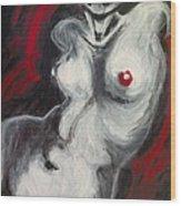 Nude Torso And Red Lips Wood Print
