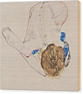 Nude With Blue Stockings Bending Forward Wood Print