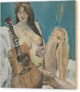 Nude With Guitar Wood Print