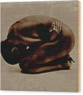 Nude Woman Kneeling Curled Up Wood Print