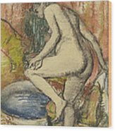 Nude Woman Wiping Herself After The Bath Wood Print