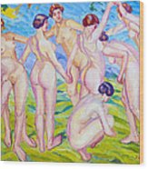 Nudes Dancing In A Ring Wood Print