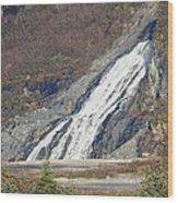 Nugget Falls In Juneau Alaska During Late Fall Wood Print