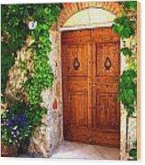 Number Three In San Gimignano Tuscany Wood Print