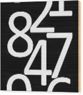 Numbers In Black And White Wood Print