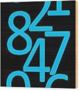 Numbers In Blue And Black Wood Print