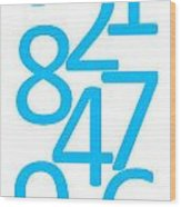 Numbers In Blue Wood Print