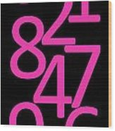 Numbers In Pink And Black Wood Print