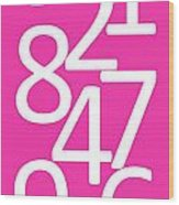 Numbers In Pink And White Wood Print