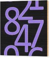 Numbers In Purple And Black Wood Print