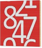 Numbers In Red And White Wood Print
