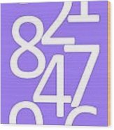 Numbers In White And Purple Wood Print