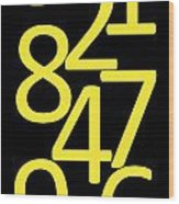 Numbers In Yellow And Black Wood Print