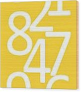 Numbers In Yellow And White Wood Print