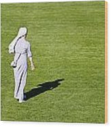 Nun On Green Soccer Field Wood Print by Brch Photography