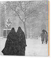 Nuns In Snow New York City 1946 Wood Print