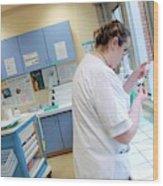 Nurse Preparing Drugs Wood Print