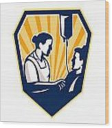 Nurse Tending Sick Patient Retro Wood Print