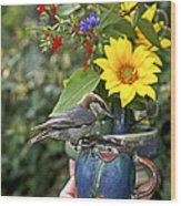 Nuthatch Bird Having Tea Wood Print